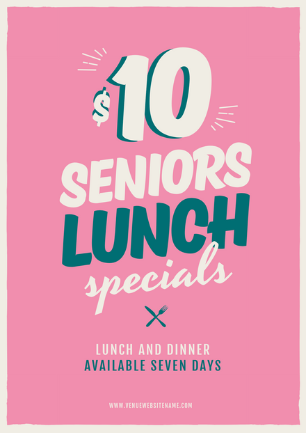 Senior's Lunch Specials Bright Pink Promotional Template