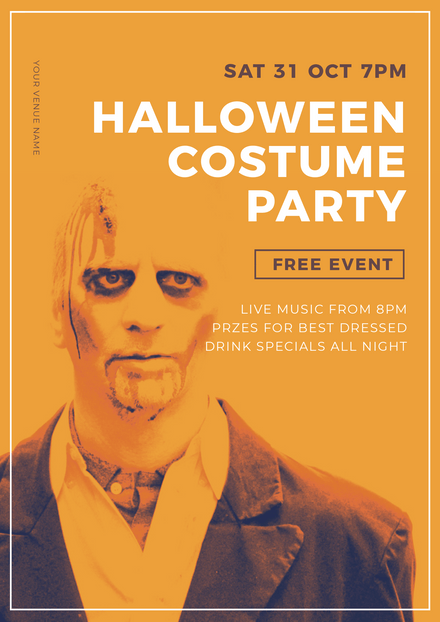 Halloween Costume Party Promotional Template with Scary Zombie