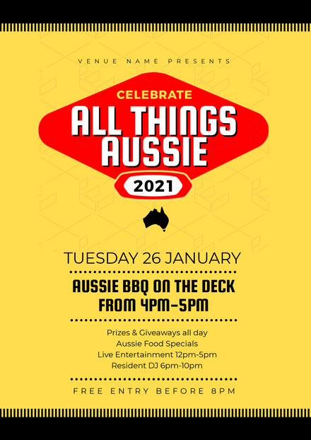 All Things Aussie Red, Yellow and Black Label Design Template