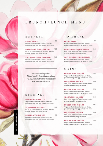 Brunch + Lunch Floral Menu Template