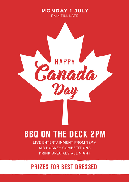 Happy Canada Day Template with large white maple leaf vector