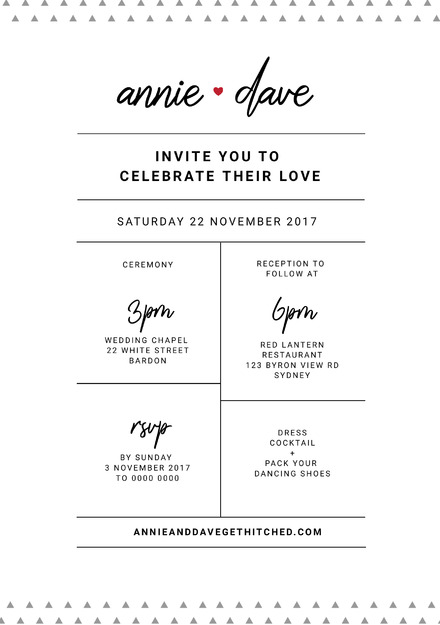 White and Black Wedding Invitation with small triangle pattern background & script fonts