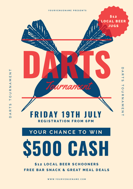 Darts Tournament - Blue & Red Template