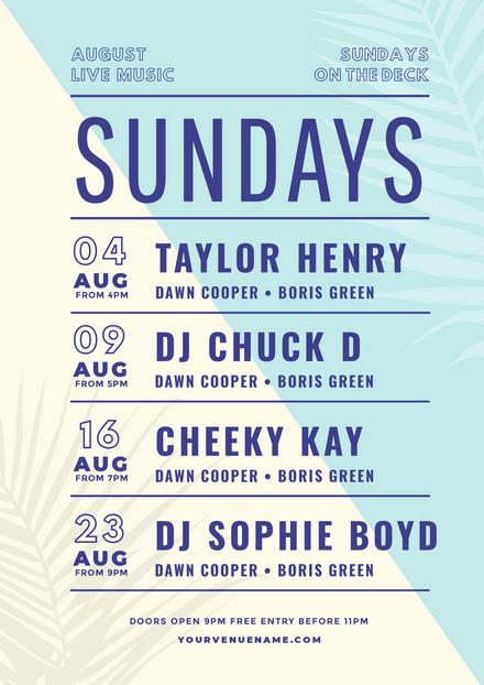 Sundays Gig Listing with Palm Tree Silhouette