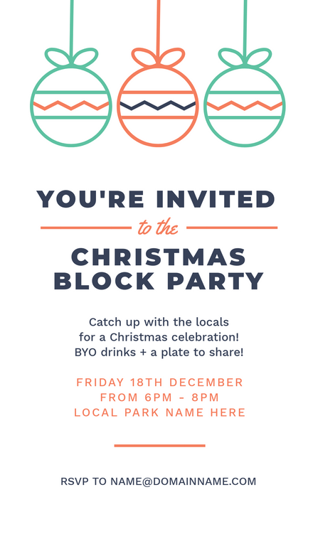 Christmas Block Party Invitation Template