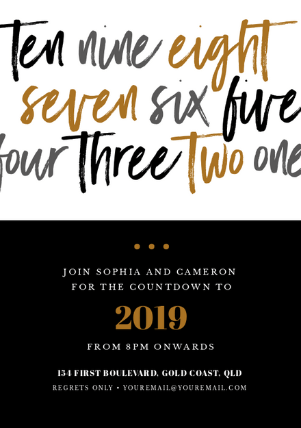 New Years Eve Event Invitation with script lettering countdown