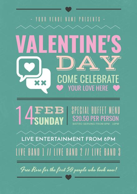 Valentine's Day Multi-color Typographic Template