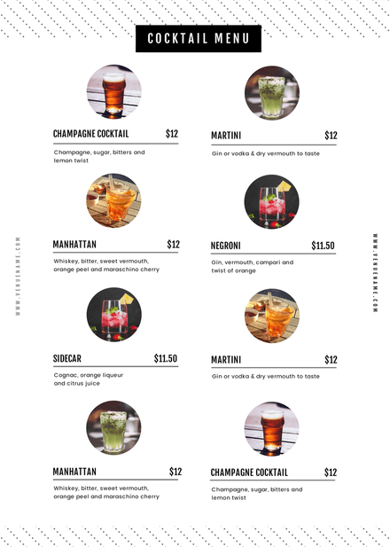 Cocktail List Customizable Template with Circle Image Zones