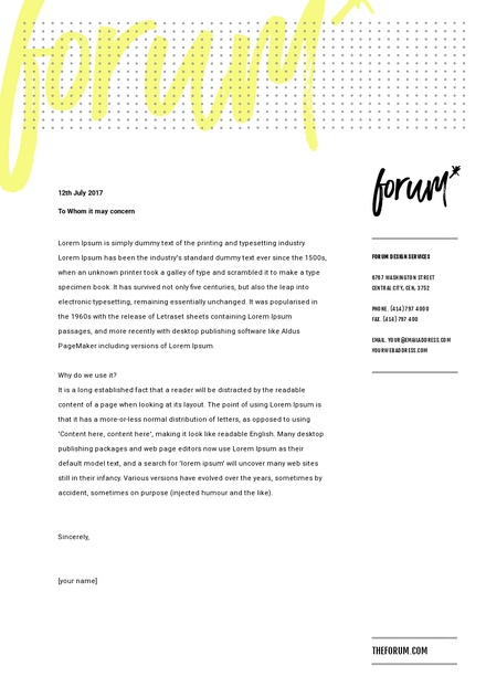 Yellow and Black Business Letterhead Template