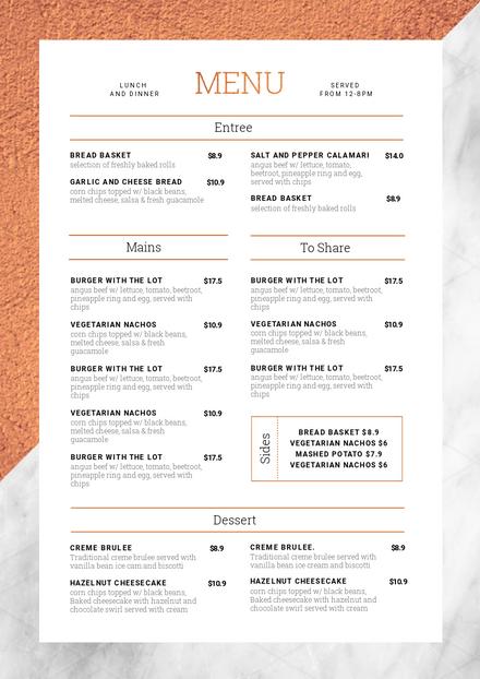 customizable restaurant menu templates easil easil
