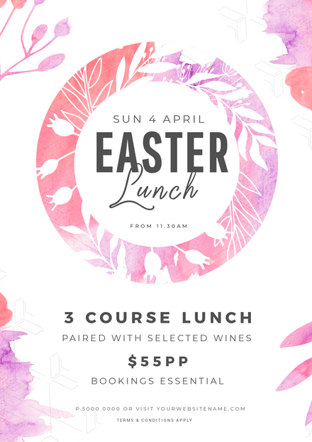 Easter Lunch template with florals and watercolor splashes