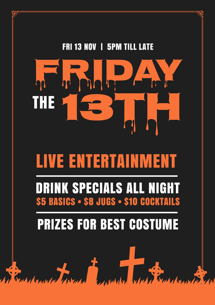 Creepy Friday the 13th orange and Black template design