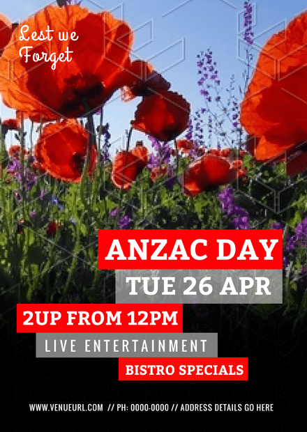 Anzac Day Template with Large Red Poppies Photograph