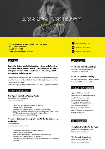 Black & Yellow Resume Template with full width Hero Image Zone