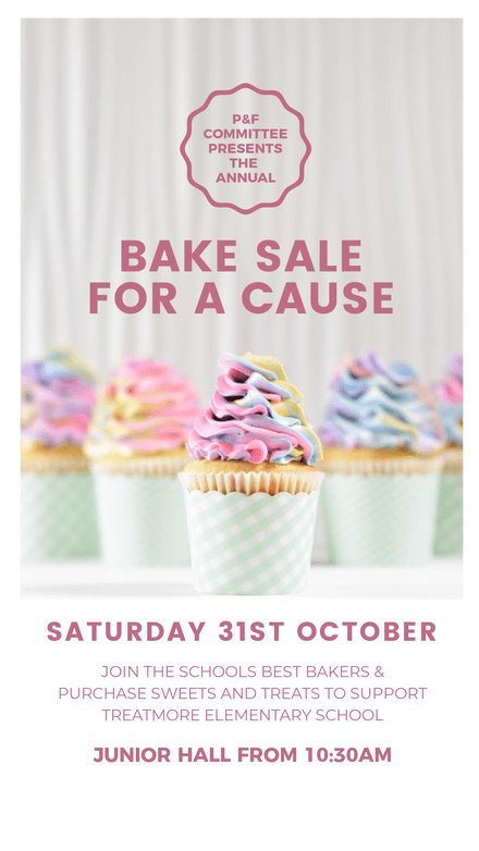 Bake Sale for a Cause Template Colorful Cupcakes