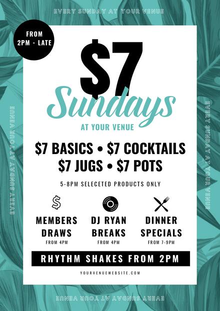$7 Sundays Tropical Event Theme Template