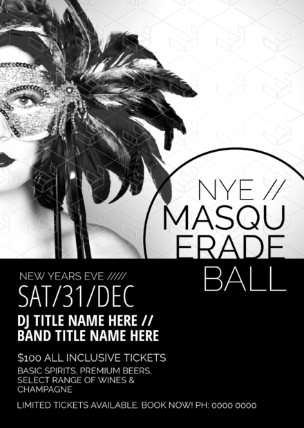 New Years Eve Masquerade Party Invitation Template