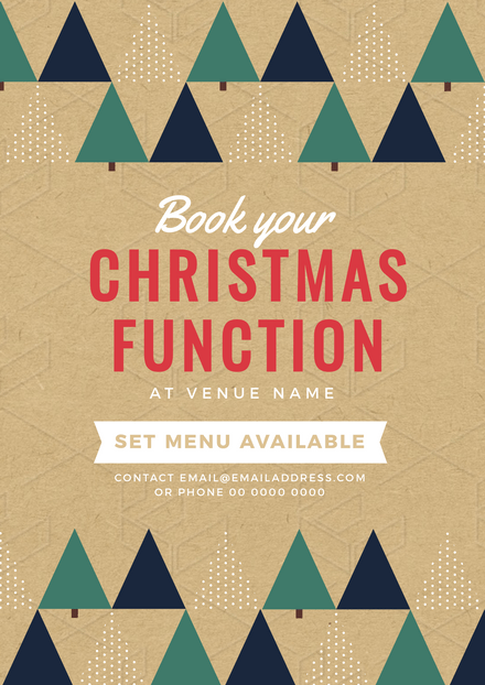 Christmas Function Template with Simplified Xmas Tree Graphics