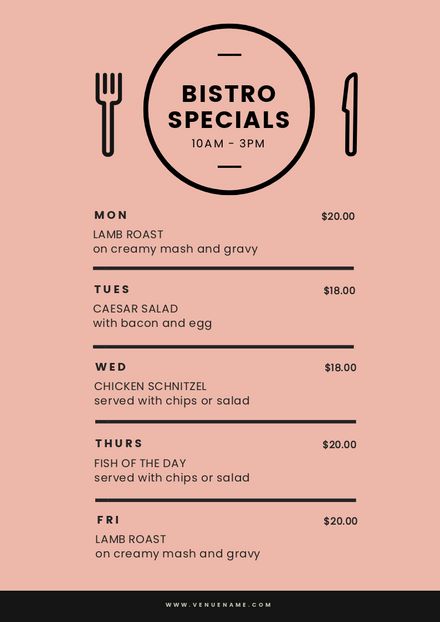 Bistro Specials Menu with black illustrated table setting