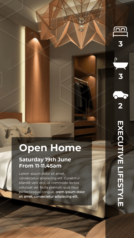 Real Estate Open Home Template with icons for inclusions