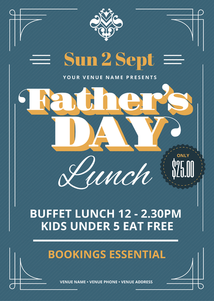 Father's Day Lunch Event Template with ornate border