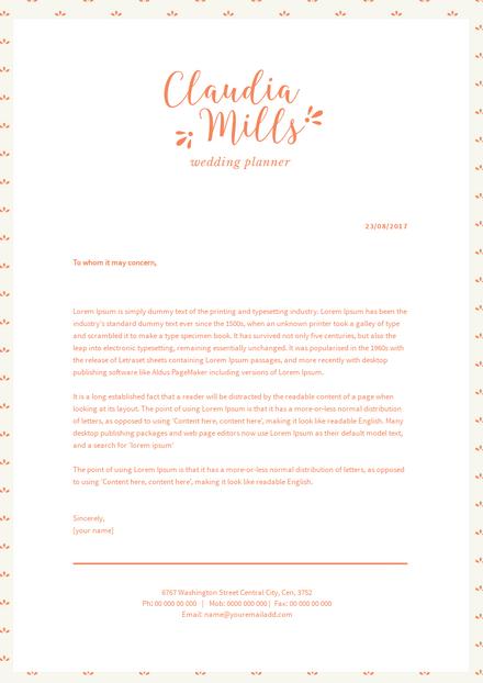 Wedding Planner Letterhead Template