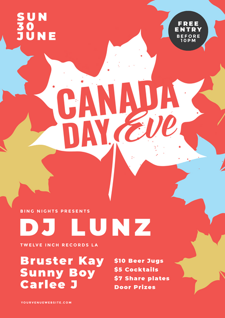 Canada Day Eve Template with Colored Maple Leaf Graphics