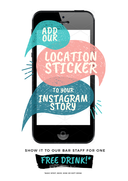 Add our Location Sticker for a Free Drink