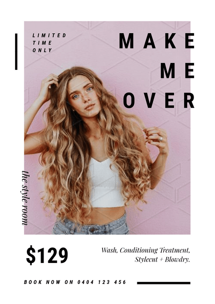 Black Text and Large Image Hair Stylist Special Template