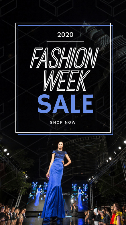 Fashion Week Sale Template - Blue & White double frame