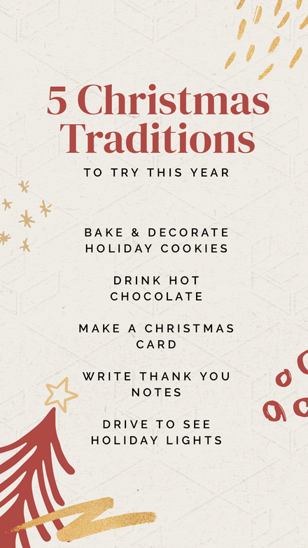 5 Christmas Traditions List with Hand drawn elements