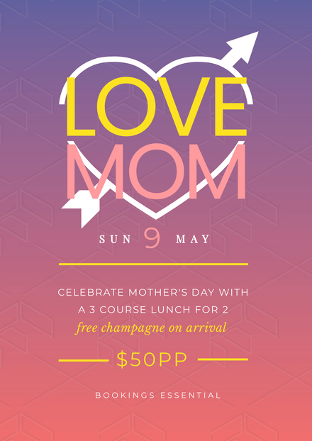 Love Mom - Mother's Day Template with Gradient Background