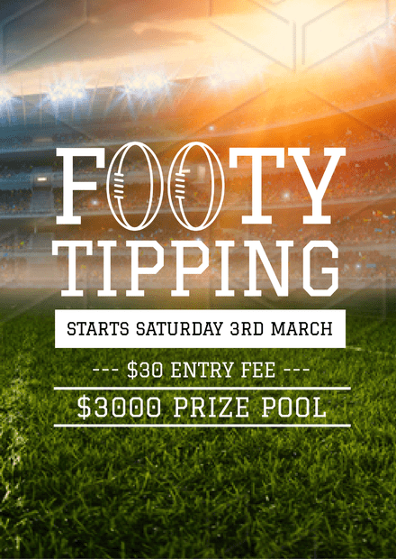 Football Tipping Competition poster with illustrated ball heading
