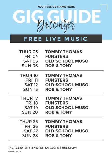 blue gig guide lineup poster with 4 weeks easil