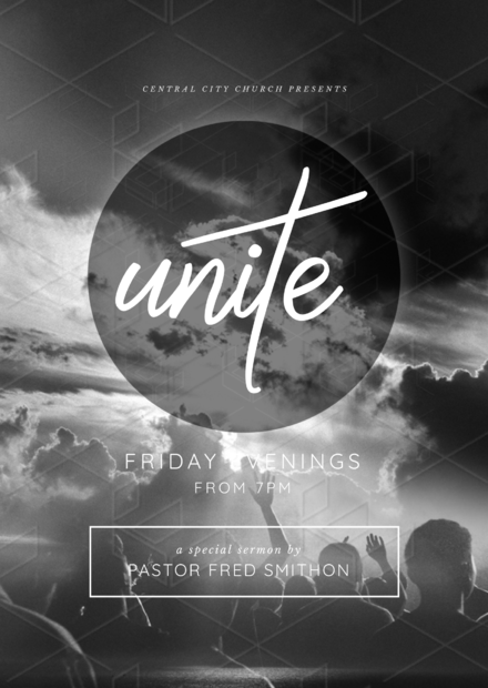 unite black and white church flyer template easil