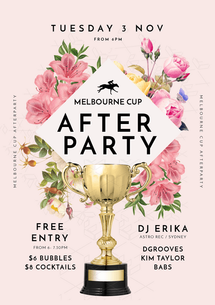 Melbourne Cup Day After Party with Cup & Floral Features