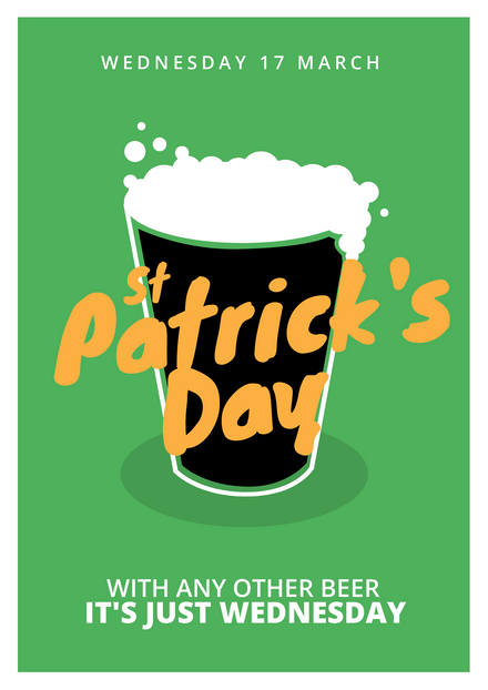 St Patrick's Day Illustrated Frothy Beer Template