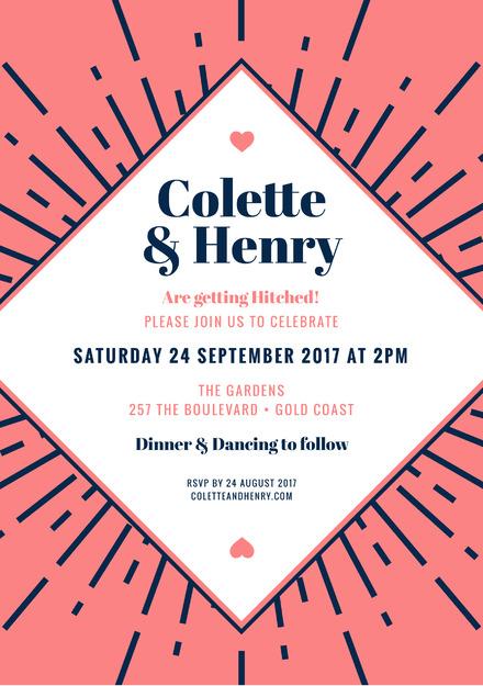 Coral navy wedding invitation template stopboris Gallery