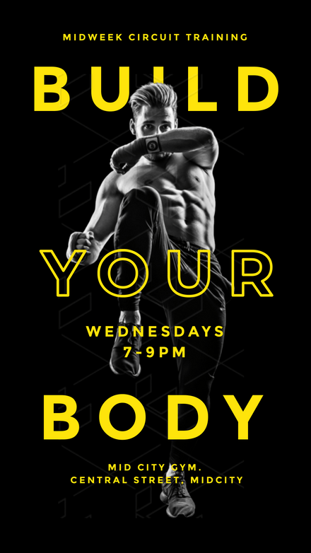 Build your Body - Black & Yellow Fitness Trainer Template