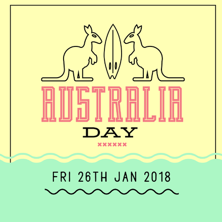 Green & Gold Australia Day Template with Outline Kangaroos