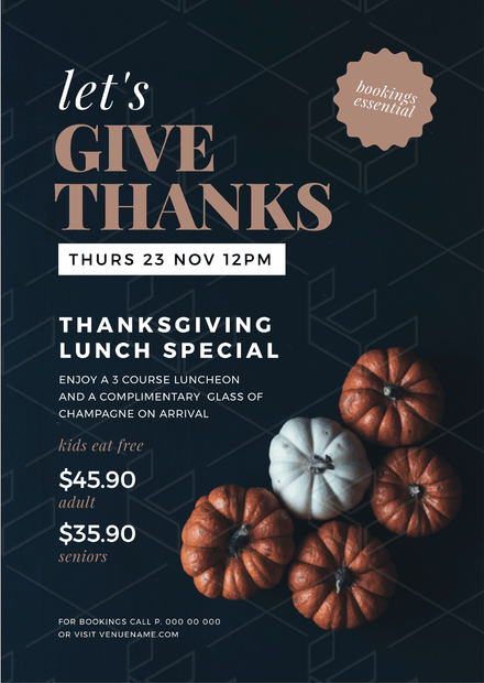 Let\'s Give Thanks Thanksgiving Graphic Template