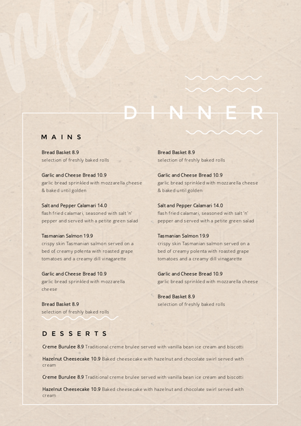 Dinner Menu Template with aged paper background