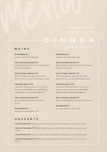 copper marble menu template