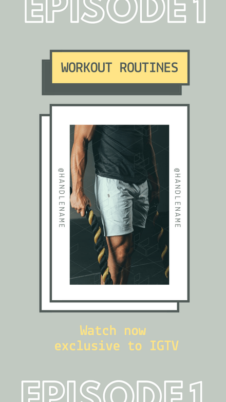 IGTV Cover Template Workout Routines Graphic Template