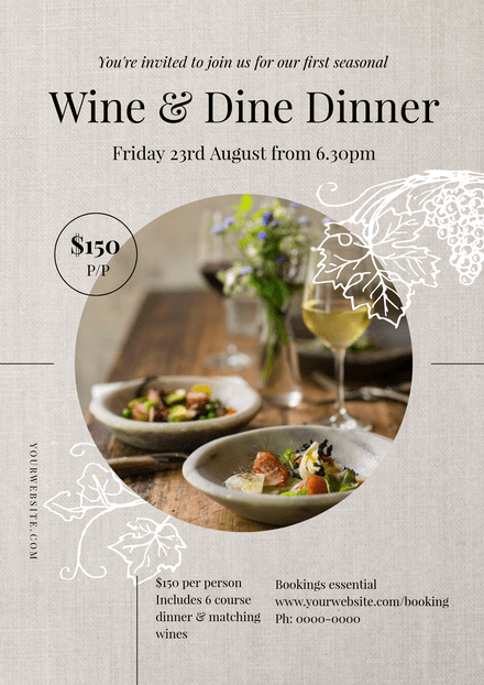 Wine & Dine Dinner - Event Template with Textured background