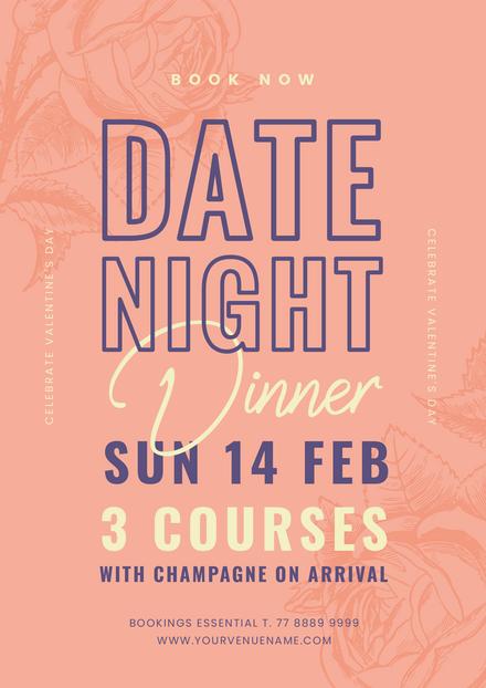 Valentine's Day Date Night Dinner - Pastel Peach and Purple