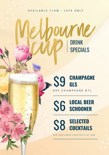 dea5570662e Melbourne Cup Drink Specials - template with champagne glass & flowers