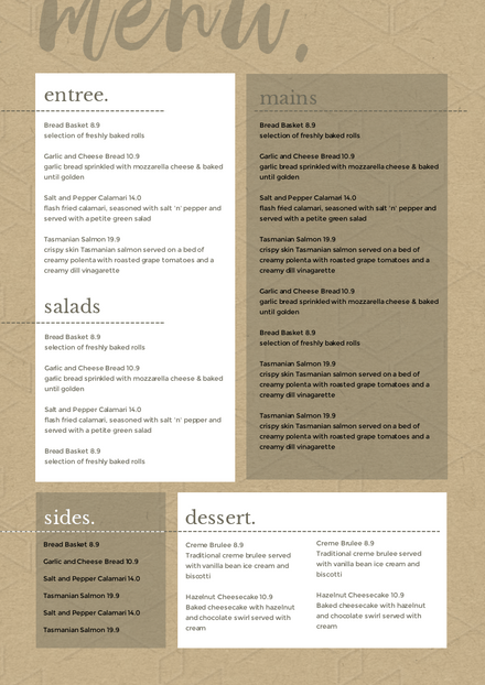 Aged Paper Menu Template with content blocks