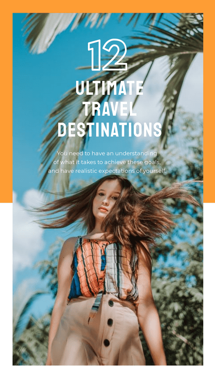 Orange & White Split Block Layout Travel Destinations