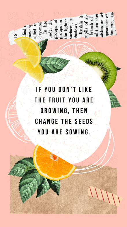 Collage: Fruit Paper Quote
